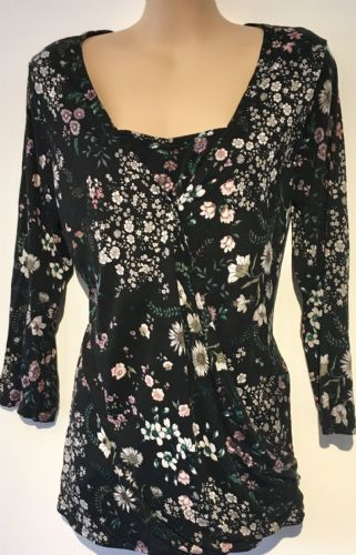H&M BLACK 3/4 SLEEVED FLORAL JERSEY WRAP CROSS OVER TOP L UK 14